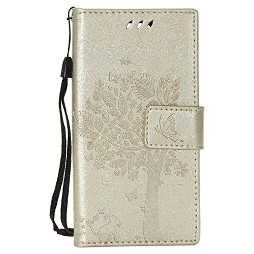 Chreey Huawei Mate 10 Pro Hülle, Prägung [Katze Baum] Muster PU Leder Hülle Flip Case Wallet Cover mit Kartenschlitz Handyhülle Etui Schutztasche [Gold]