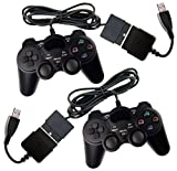 2x Controller für PS2 / PS3 / PC / MAC mit Dual Vibration und Treibern, wired Gamepad kabelgebunden Playstation 2 / 3 / Windows / Apple Mac OSX