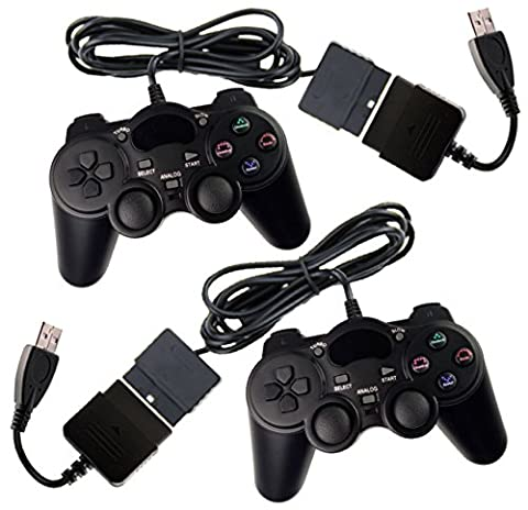 2x Controller für PS2 / PS3 / PC / MAC mit Dual Vibration und Treibern, wired Gamepad kabelgebunden Playstation 2 / 3 / Windows / Apple Mac OSX
