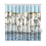 WOCNEMP Home Decor Bad Vorhang Weiß Camargue Pferde Galoppieren Am Strand In Polyester Stoff Wasserdicht Duschvorhang Für Badezimmer, 72 X 72 Zoll Duschvorhänge Haken Enthalten