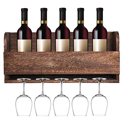 MITIME Schwimmende Wein Regal und Glas Rack Set Wand montiert Paulownia Holz Weinregal für 5Flaschen 5lang, Glas-Stiel Halter (Glas-halter Und Holz-wein)