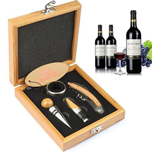 yobansa Wein Zubehör Set in Holzbox, Wein Korkenzieher Kit, Bier Flaschenöffner und Stopper Set Bammboo box 4 pcs