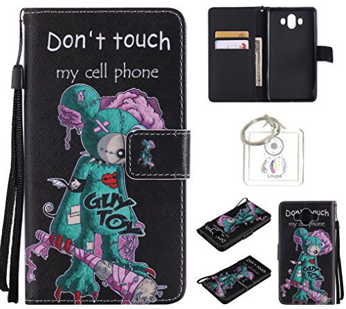 Preisvergleich Produktbild für Huawei Mate 10 PU Wallet Case Schutz Hülle für - Cover Flip Tasche mit Kartenfach in Buch Stil mit Kartenfach Standfunktion Magnetverschluss und Hand Wrist +Schlüsselanhänger (O) (10)
