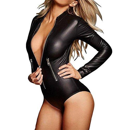 WONDER BEAUTY Damen Leder Bodysuit Schwarz Onepiece V Ausschnitt Langarm Wetlook PVC Sexy Kurz Overall Jumpsuit Kostüm Rompers Playsuit