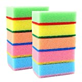 #3: Insasta Set of 10 Multi-Purpose Cleaning Sponges Scourer - With One Side Absorbent Sponge and Other Side Scouring Pad - ( Random Color )