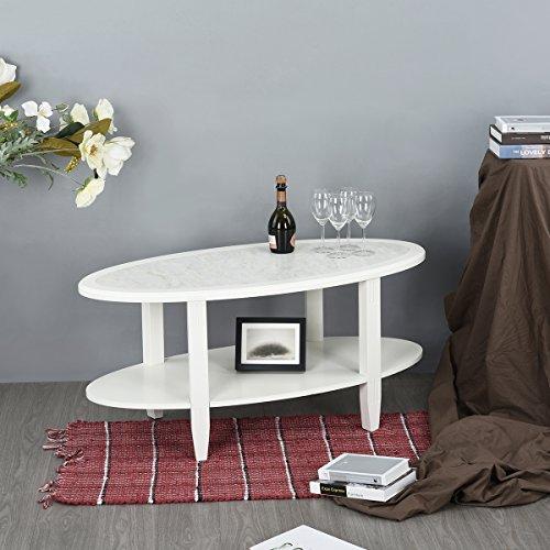 innovareds-uk Moderne ovale Double Layer Marmor Ende Tisch Wohnzimmer Couchtisch Pure weiß (Moderne Handtuch-kollektion)