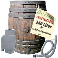REGENTONNE EICHENFASS 240 Liter REGENFASS Wasserfass REGENWASSERTONNE Wassertonne - FROSTSICHERES Gartenfass für Regenwasser u.v.m. in Holz-Optik aus robustem PE-Kunststoff - MIT REGEN-FILTER-SET T33 zur AUTOMATIK-BEFÜLLUNG inkl. Deckel