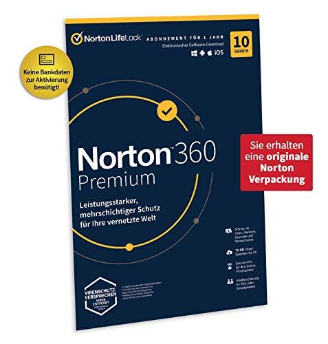 Norton 360 Standard 2020   10 Geräte  Unlimited Secure VPN und Passwort-Manager  1 Jahr PC, Mac oder Mobilgerät Aktivierungscode in Originalverpackung