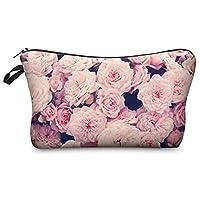 Mens Ladies Toiletry Bag Vanity case, make up, purse, pencil case, phone handbag, jewellery pouch NEW! Vintage Roses Pink [009]