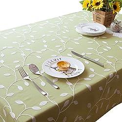 NiSeng Manteles bordados de poliester Manteles de mesa Antimanchas Rectangular para Restaurantes Decoracion de manteles Verde 140x250 cm
