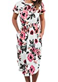 Womens Summer Casual Floral Print Midi Dresses Ladies Racerback Sleeveless T-shirt Dress White M