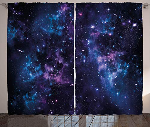 ABAKUHAUS Platz Rustikaler Gardine, Mystischer Himmel mit Stern, Schlafzimmer Kräuselband Vorhang mit Schlaufen und Haken, 280 x 245 cm, Dunkel Violett und Blau -