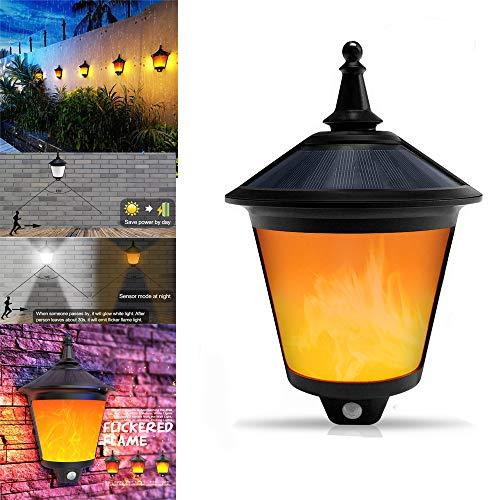 Solar Wandleuchte,Solarlampen für Außen mit Flamme oder 6500K Tageslicht, 2 in 1 Solarleuchten für außen, Solar Flamme Warmweiß für Flur, Wand, Garten, Party, Fest, Weihnachten