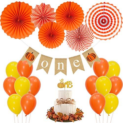 JOYMEMO Kleiner Kürbis ersten Geburtstag Dekorationen, 1. Cake Topper, hängende Papierfächer, eine Bunting Banner Birthday Party Supplies Baby Shower (Halloween-1. Geburtstag Supplies Party)