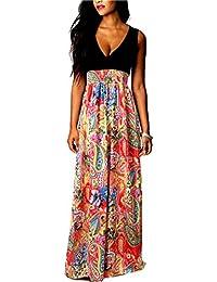b9e9f9c7b654 Vestiti Donna Eleganti Estivi Vintage Stampato Floreali Mare Hippie Senza  Maniche V Scollo Vita Alta A-Line Swing Lunghi…