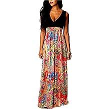 Vestiti Donna Eleganti Estivi Vintage Stampato Floreali Mare Hippie Senza  Maniche V Scollo Vita Alta A 98122139c03b