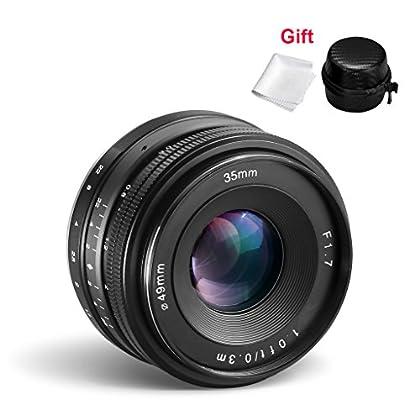 35 mm F/ 1.7 Objetivo para Sony E-Mount Cámaras CRAPHY Gran Angular Lente de Enfoque Manual de Distancia Focal Fija Gran Apertura para Sony E-Mount Cámaras sin espejo APS-C