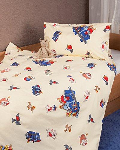 Kinderbettwäsche Renforcé Zug Blau in 2 Größen/Bettwäsche Kinder/Baumwollbettwäsche