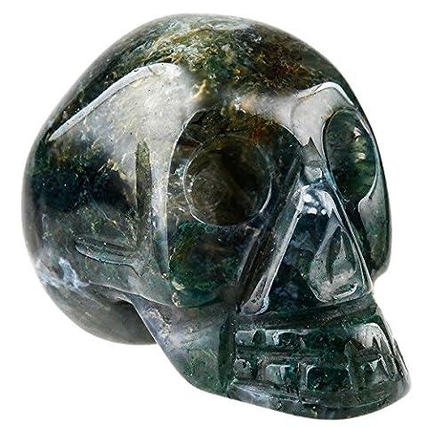 Shanxing Gravé Crane de Cristal Pierre Énergie Chakra Spirituel Figurine Statue Décoration 1.5 Pouces,Moss (Healing Gemma Di Cristallo)