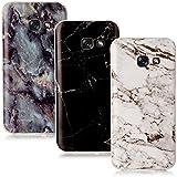 CLM-Tech 3in1 Zubehör Set: 3 x TPU Gummi Hülle für Galaxy A3 (2017) Schutzhülle Marmor Muster schwarz weiß bunt