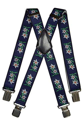 Hosenträger extra starken für Herren mit 4 Clips X-Form - 4cm. Edelweiß-Design, Dunkelblau
