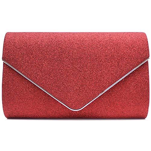Fashion Pu-clutch, Handtaschen (Vain Secrets Damen Umhänge Tasche Clutch Abendtaschen in vielen Farben (22 cm Lang - 13 cm Hoch - 6 cm Breit, Rot))
