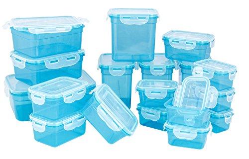LOKI 36-teiliges Frischhaltedosenset mit 4-fach Frischeverschluss LK-1-36 | Geeignet für Mikrowelle, Spülmaschine und Gefrierschrank | auslaufsichere Spezialdichtung Blau (Lock Und Lock Gefrierschrank)