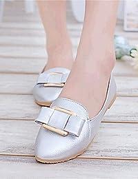 ZQ YYZ Zapatos de mujer-Tac¨®n Plano-Comfort-Planos-Exterior / Casual-Semicuero-Negro / Rojo / Blanco / Plata...