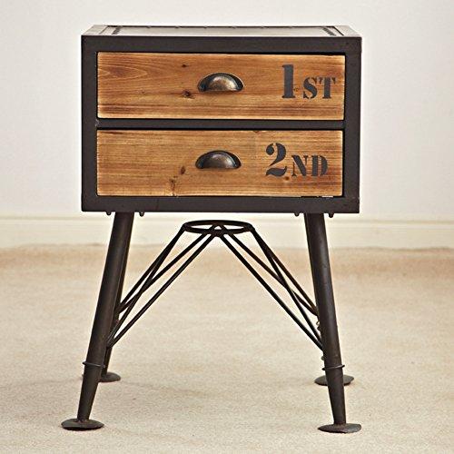 Vintage alter nachttisch Lagerschränke Eisen] Creative eimer schrank Lagerschränke Nachttisch Massivholz schublade ablageschrank-A 55x32x90cm(22x13x35)