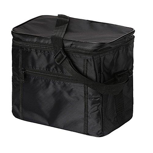 Eistasche Picknicktasche Klappbar faltbar Isolierte Thermo 10L für Büro Arbeit Outdoor Camping Reisen Auto Sport Lebensmitteltransport (Schwarz) (Mittagessen Taschen Für Jungen)