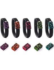 Fitbit Flex 2cierre anillo, Reemplazo TUSITA® Silicona cierres de seguridad accesorios con hebilla de metal para Fitbit Flex 2banda pulsera de seguridad bloqueo de bucle Keeper, color 5-PACK