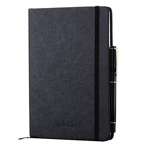 SEEALLDE A5 Notizbuch,Schwarzer Klassischer Lederner Notizblock mit Stift-Schleifen-Taschen-Notizbuch Tagebuch Geschäfts-Notizbuch für das Treffen der Büro-Schulreise,200 Seiten,5,71x8,4 Zoll