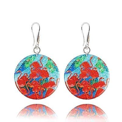 Lumineuses Boucles d'Oreilles Pendantes de couleur Bleu Ceil du Style Flamant Rouge; Cadeau Humour Été pour Femme; Dragon Porter Diamètre 3cm
