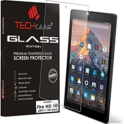 TECHGEAR® All-New Amazon Fire HD 10 with Alexa (7th Gen / 2017 Release) GLASS Edition Genuine Tempered Glass Screen Protector Guard Cover