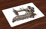 Abakuhaus Steampunk Platzmatten, Vintage Nähmaschine Hand gezeichnete Skizze antiken Objekt drucken, Waschbarer und Farbfester Stoff für Esszimmer und Küche, Dunkelbraun und Elfenbein