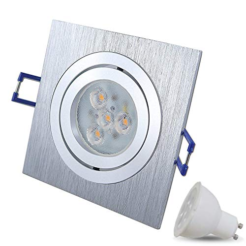chwenkbar Dimmbar STAR Quadratisch Matt-Chrom/Silber Inkl. 1X 5W LED Warmweiß 230V IP20 Deckenstrahler Einbauleuchte Deckeneinbaustrahler Einbauspot Deckeneinbauleuchte Deckenspot ()