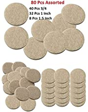 Lukzer 80 Pcs Scratch Proof Felt Pad Assorted Furniture Pads (Beige) / Multi-Functional Self-Adhesive Pad/Floor Protector Furniture Pads/Furniture Table Sofa Leg pad