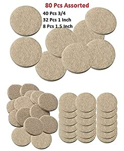 Lukzer 80 Pcs Scratch Proof Felt Pad Assorted Furniture Pads (Beige) / Multi-Functional Self-Adhesive Pad/Floor Protector Furniture Pads/Furniture Table Sofa Leg pad