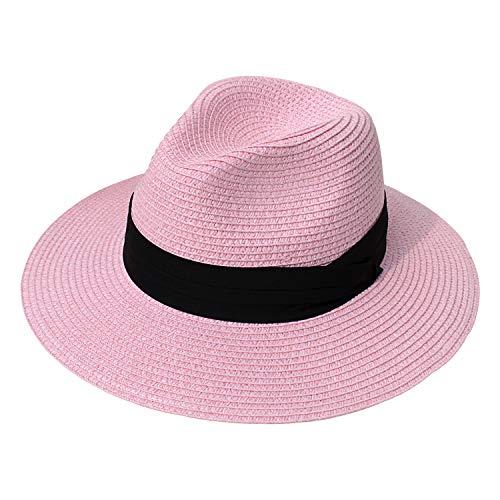 DRESHOW Damen Breiter Krempe Stroh Sommer Panama aufrollen Hut Fedora Strand Sonnenhut UPF 50 +