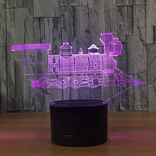 3D Nachtlicht Visualisierung Glow 7 Farbwechsel USB Touch-Taste Und Intelligente Fernbedienung Schreibtisch Tisch Beleuchtung Schönes Geschenk Home Office Dekorationen Spielzeug (mini zug) -