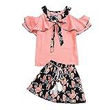 LEXUPE Kleinkind Kinder Baby Mädchen Blumendruck Rufflus Bowknot Tops Röcke Outfits Sets(Rosa,130)