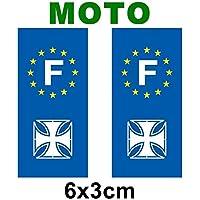 Lote de 2-Adhesivo decorativo, diseño de placa de matrícula de moto logo regionales