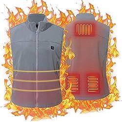 Keymao Chaleco Calefactable Chaleco térmico Calentador Eléctrico Lavable Ajustable con Cable USB Chaleco Eléctrico de Invierno para Hombres y Mujeres (No Bateria Externa) (Gris, Talla única(M-XXL))