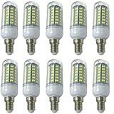 Aoxdi 10x E14 LED Energiesparlampe Leuchtmittel Birne 8W, Kaltweiß, E14 LED Mais Lampe, 56 SMD 5730 LED, AC220-240V