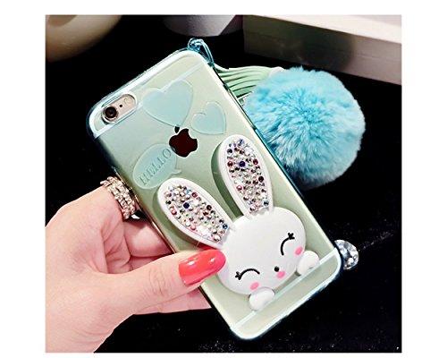 Pacyer® Custodia iPhone 6 Plus/6S Plus TPU Case 3D Coniglio Hairball Protettivo Skin Shell con Foldable Bunny Ear Cover Per Apple iPhone 6 Plus/6S Plus (5,5) Green