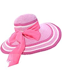 La Sra Playa Sombrilla Gran Sombrero De Paja De Ala Ancha,Pink