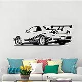 jiushizq Sport Racing Car Rimovibile Wall Stickers Vinyl Decalcomanie Home Decor Rimovibile Murale Carta da Parati per Ragazzi Room Decor Grigio 63X180cm