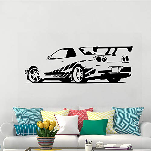 jiushizq Sport Racing Car Rimovibile Wall Stickers Vinyl Decalcomanie Home Decor Rimovibile Murale Carta da Parati per Ragazzi Room Decor Bianco 63X180cm