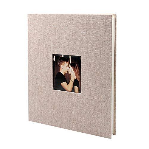 Veesun album fotografico scrapbook 28 cm x 27 cm adesivo per pagina bianca fai da te album foto lino san valentino regalo di compleanno regalo di anniversario di matrimonio regalo, beige