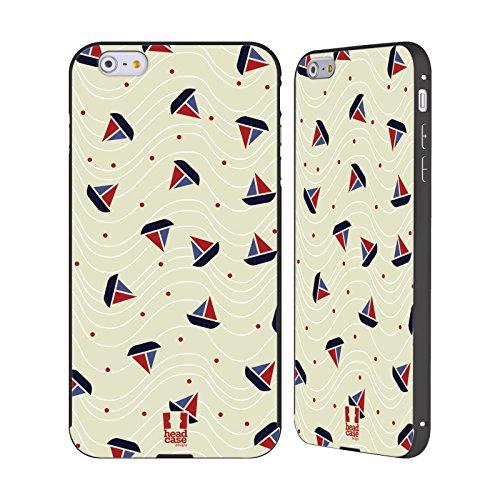 Head Case Designs Anker Und Chevron Marine Muster Schwarz Rahmen Hülle mit Bumper aus Aluminium für Apple iPhone 5 / 5s / SE Boot